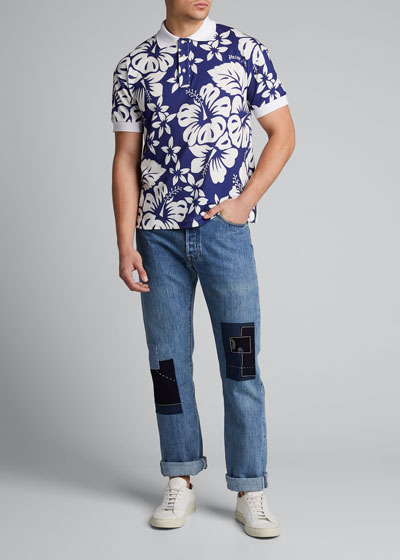 Men's Hawaiian-Pattern Polo Shirt