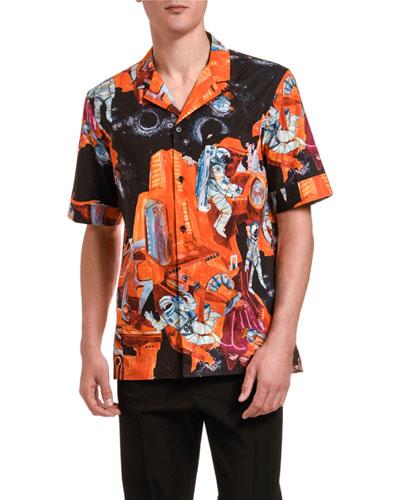 Men's Spaceman Graphic Sport Shirt