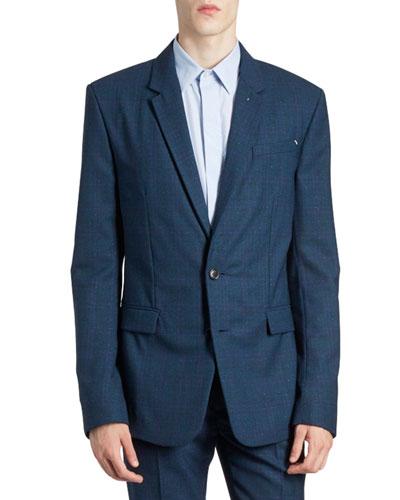 Men's Tonal Textured Two-Button Jacket