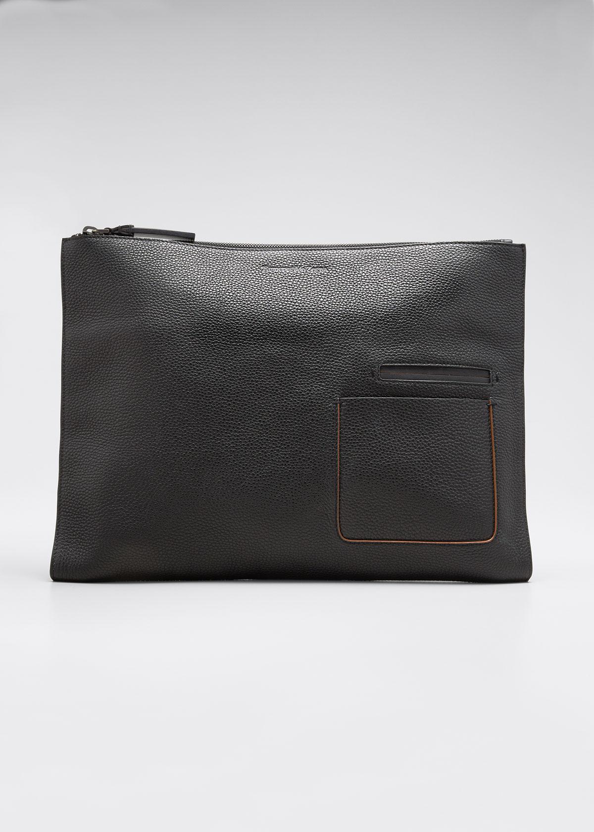 Ermenegildo Zegna Men's Blazer Leather Zip-top Portfolio
