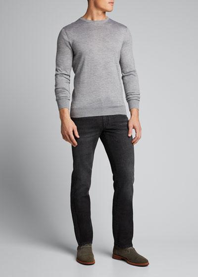 Men's Straight-Leg Washed Denim Jeans