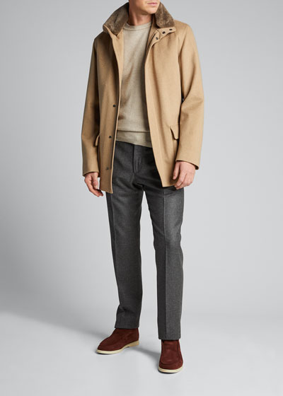 Men's Voyager Cashmere Coat with Fur Trim