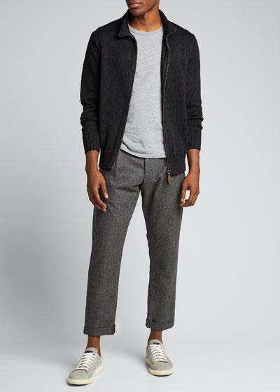 Men's Linen Zip-Front Cardigan