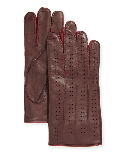 Men's Two-Tone Perforated Napa Leather Gloves