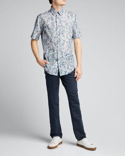 Men's Floral Linen-Cotton Sport Shirt
