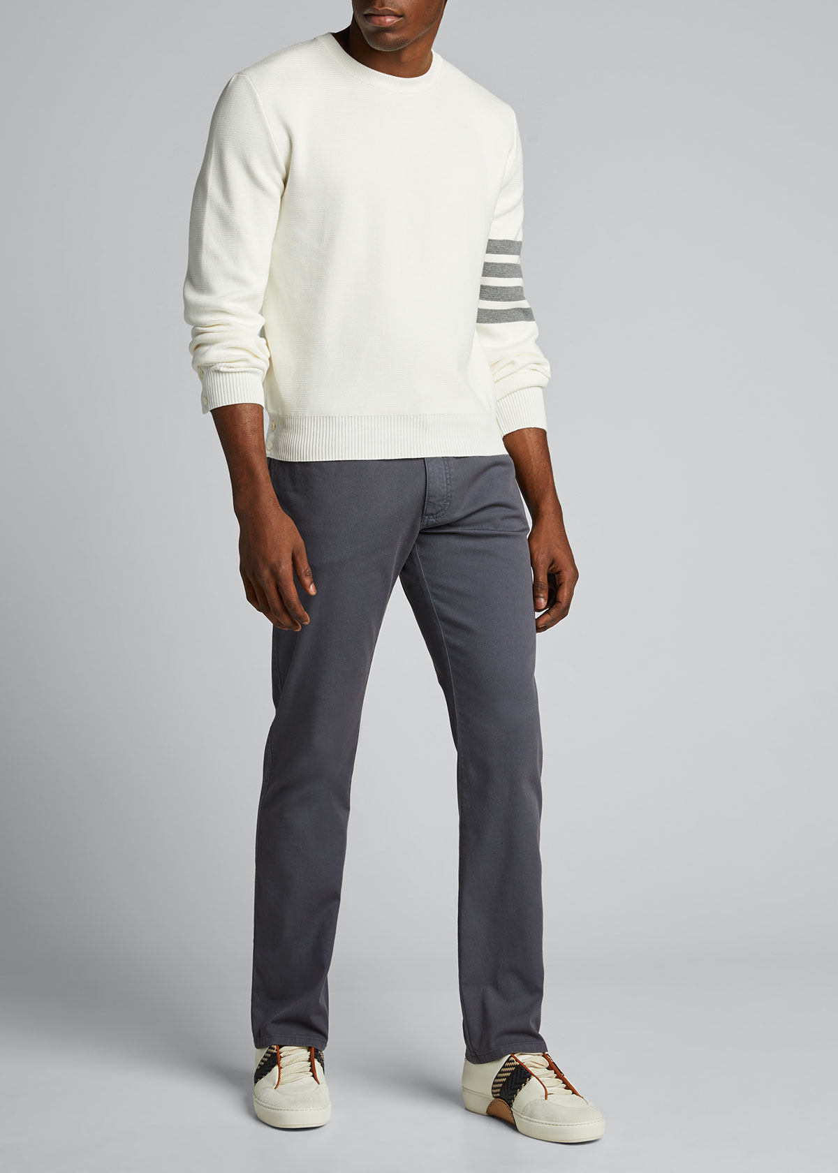 Thom Browne Cottons MEN'S MILANO-STITCH CREWNECK TOP