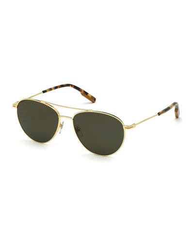 Men's Slim Metal Tortoiseshell Aviator Sunglasses