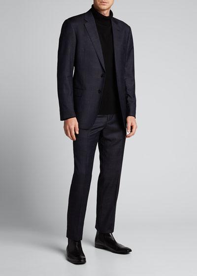 Men's Textured Screen Wool Two-Piece Suit