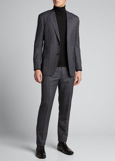 Men's Windowpane Wool Two-Piece Suit
