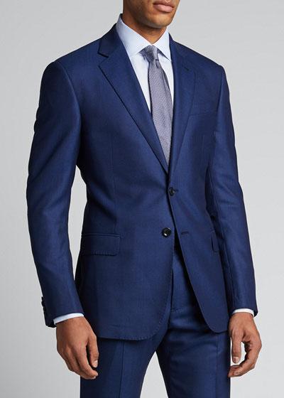 Men's Point-Collar Micro-Weave Dress Shirt