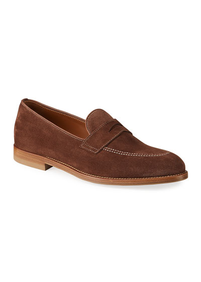 Men's Suede Penny Loafers w/ Contrast Stitching