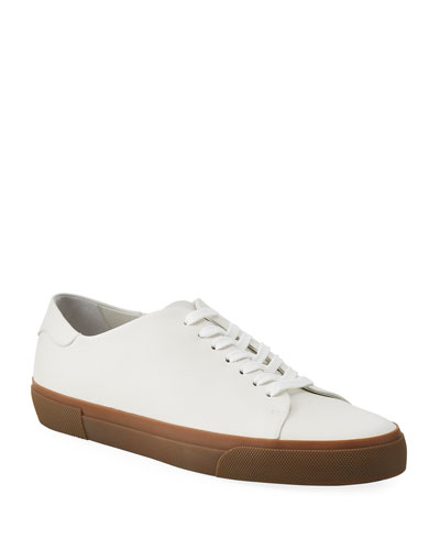 Men's Leather Contrast-Sole Sneakers
