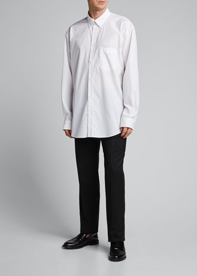 Men's Solid Poplin Point-Collar Sport Shirt