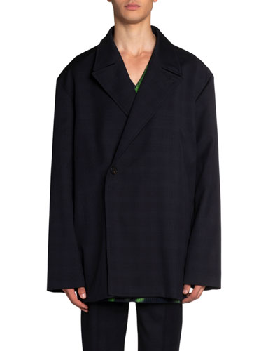 Men's Oversized Satin-Trim Wool Jacket