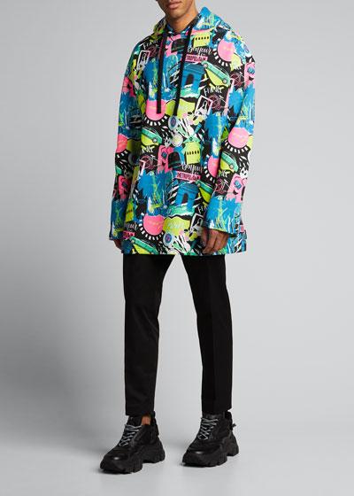 Men's Paris By Night Brushed Fleece Oversized Hoodie Sweatshirt