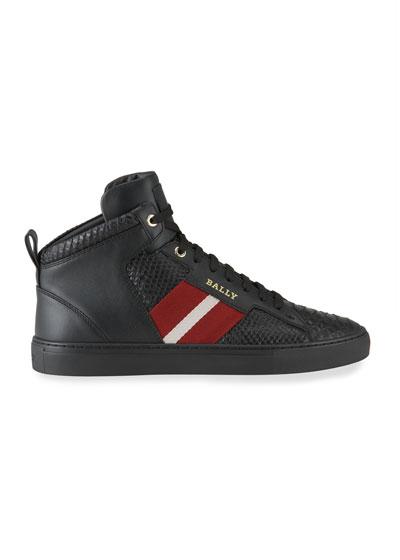 Men's Hedern Trainspotting Croc-Embossed High-Top Sneakers