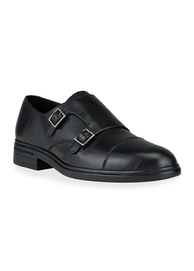 Men's Neo Double-Monk Leather Loafers
