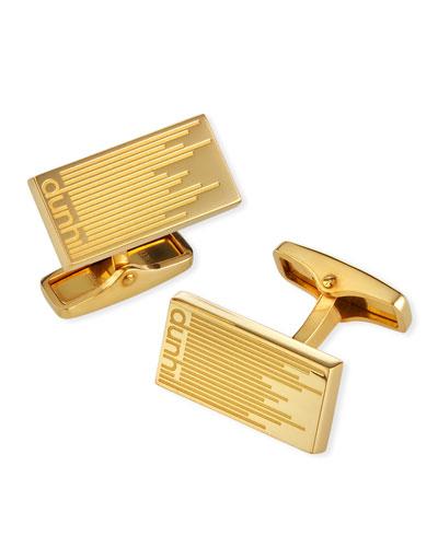 Men's Gold-Plated Longtail Stripe Rectangle Cufflinks