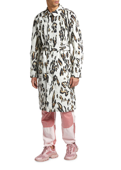 Men's Jasmund Cheetah-Print Trench Coat