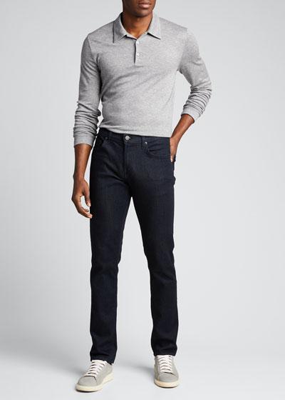 Men's Double-Cashmere Jersey Long-Sleeve Shirt