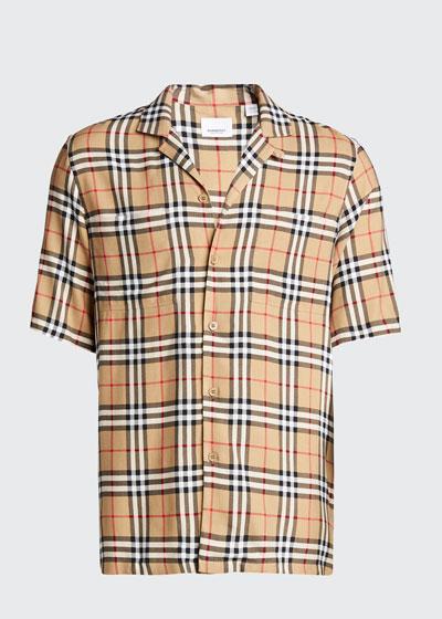 Men's Vintage Check Short-Sleeve Shirt