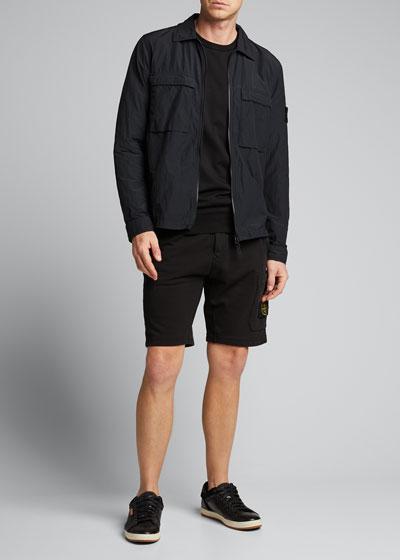 Men's Zip-Front Dual-Pocket Overshirt Jacket