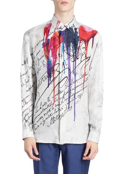 Men's Ink Blot Script Silk Sport Shirt