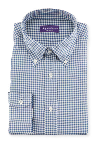 Men's Gingham Flannel Dress Shirt