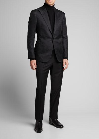 Men's Tonal Glen Plaid Single-Button Jacket
