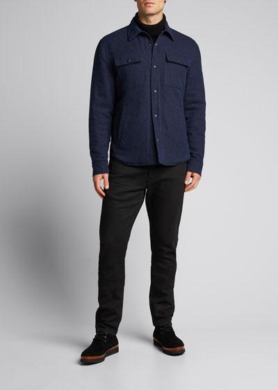 Men's Solid Wool-Blend Tweed Shirt Jacket