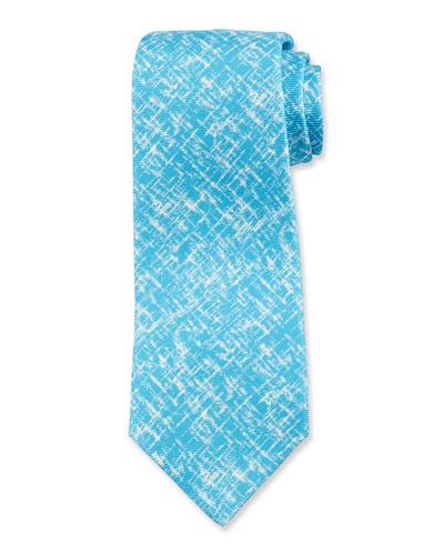 Men's Scratch-Print Silk Tie, Aqua