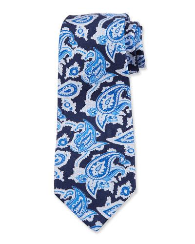 Men's Paisley Silk Tie, Navy