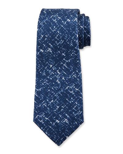 Men's Scratch-Print Silk Tie, Navy