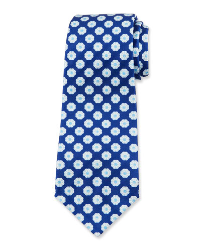 Men's Flower-Print Silk Tie