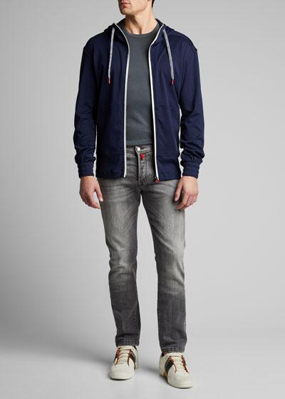 Men's Crewneck Short-Sleeve Cotton/Cashmere T-Shirt