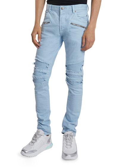 Men's Pastel Ribbed-Inset Skinny Jeans