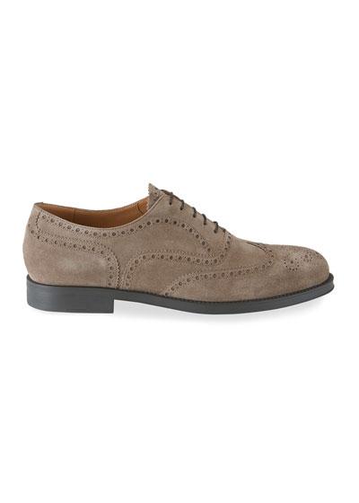 Men's Brogue Suede Oxford Shoes