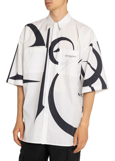 Men's Graphic-Print Oversized Short-Sleeve Sport Shirt