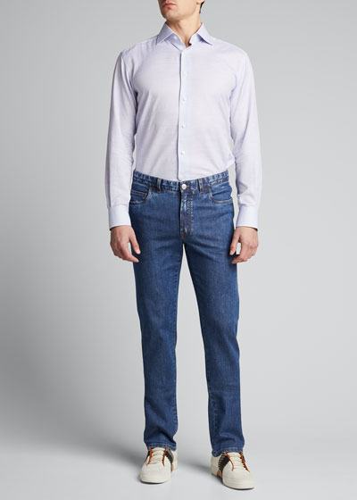Men's Medium-Wash Straight-Leg Jeans