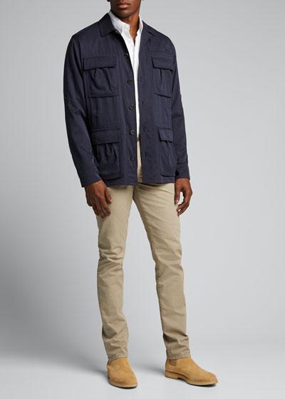 Men's Washed Silk Safari Jacket