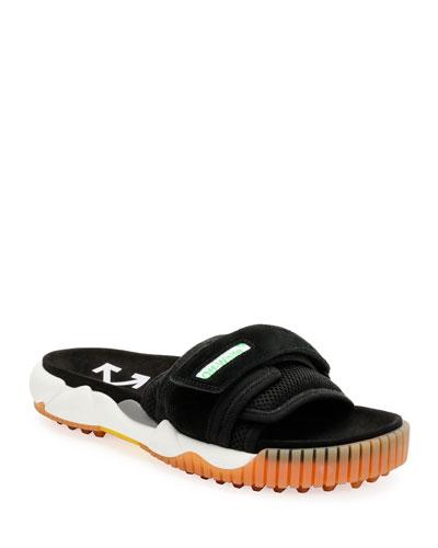 Men's Arrow Mesh/Suede Slide Sandals