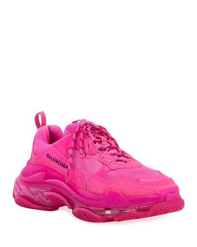 Men's Triple S Neon Clear-Sole Sneakers
