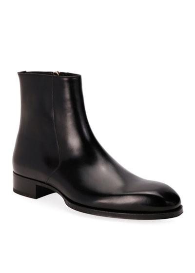 Men's Formal Leather Side-Zip Ankle Boots