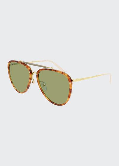 Men's Havana Acetate/Metal Aviator Sunglasses