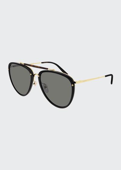 Men's Brow-Bar Acetate/Metal Aviator Sunglasses