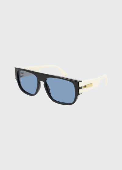 Men's Square Two-Tone Injection Sunglasses