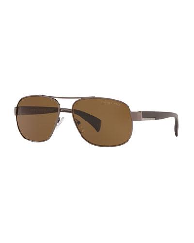 Men's Polarized Metal Aviator Sunglasses