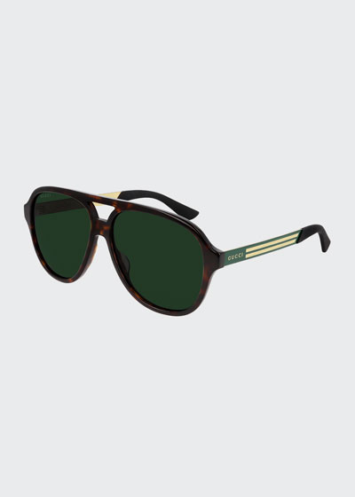 Men's Havana Aviator Logo Sunglasses
