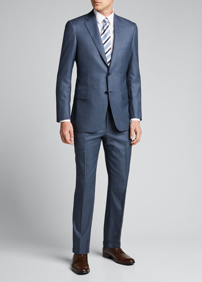 Men's Solid Wool Two-Piece Suit
