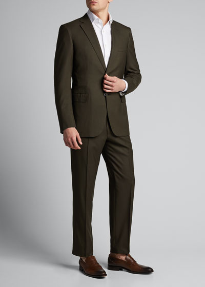 Men's Solid Twill Two-Piece Suit